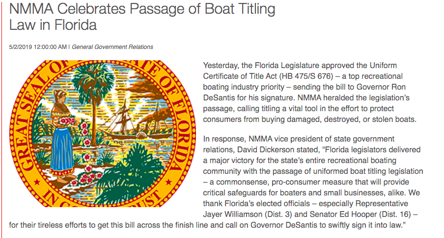 Florida Boat Title Law Passage