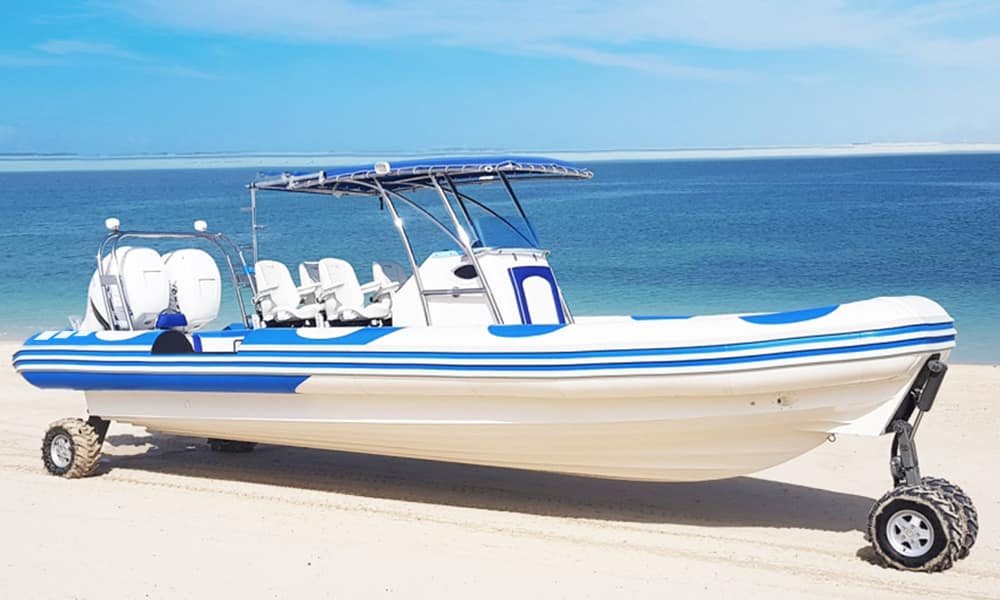 OCM Boat With Wheels On Sand 2